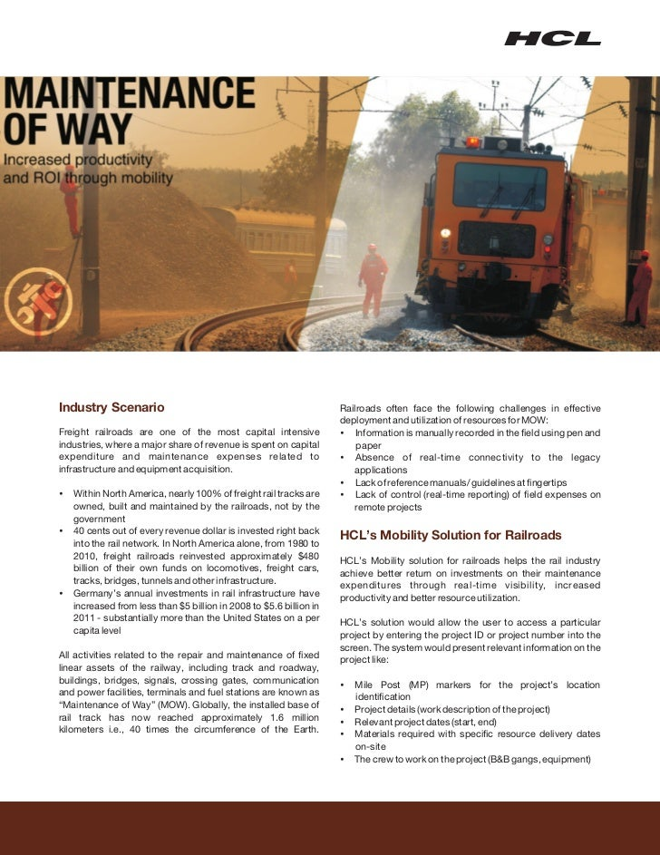 Industry Scenario                                                Railroads often face the following challenges in effectiv...
