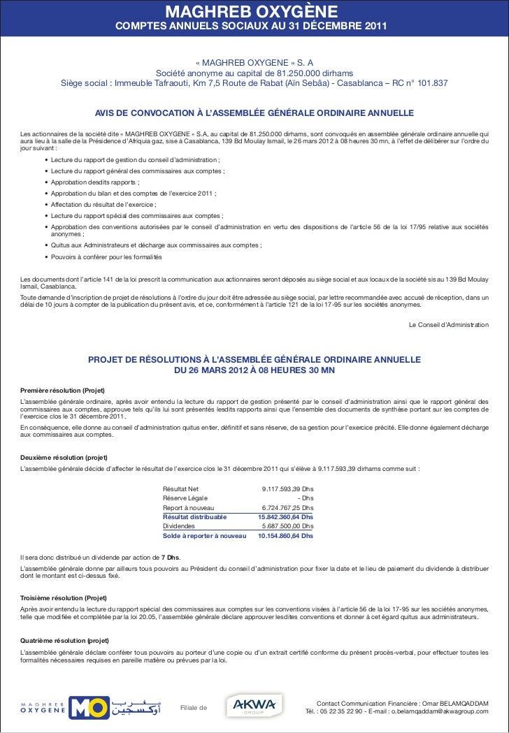 MAGHREB OXYGÈNE                                  COMPTES ANNUELS SOCIAUX AU 31 DÉCEMBRE 2011                              ...
