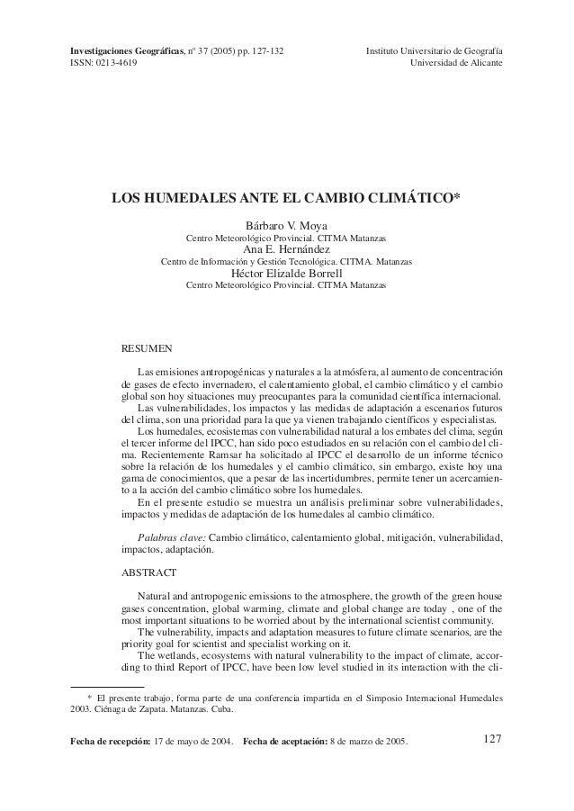 127LOS HUMEDALES ANTE EL CAMBIO CLIMÁTICO*Bárbaro V. MoyaCentro Meteorológico Provincial. CITMA MatanzasAna E. HernándezCe...