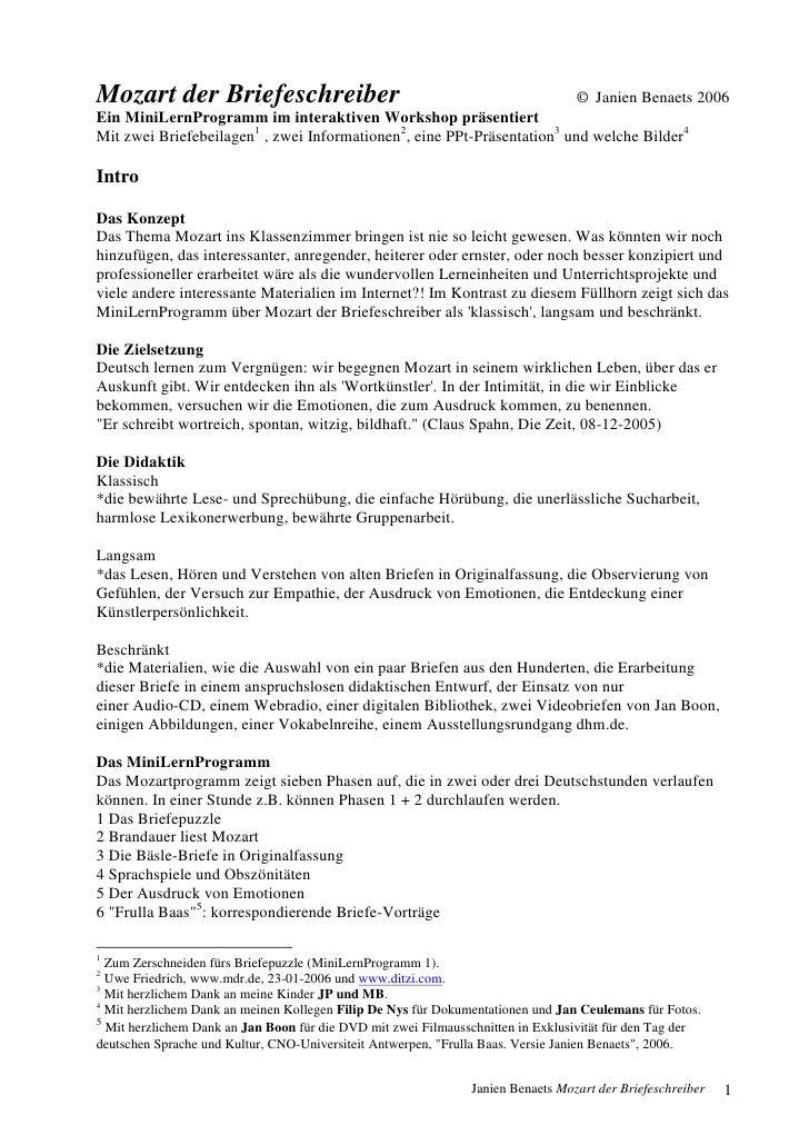 Mozart der Briefeschreiber                                                       © Janien Benaets 2006 Ein MiniLernProgram...