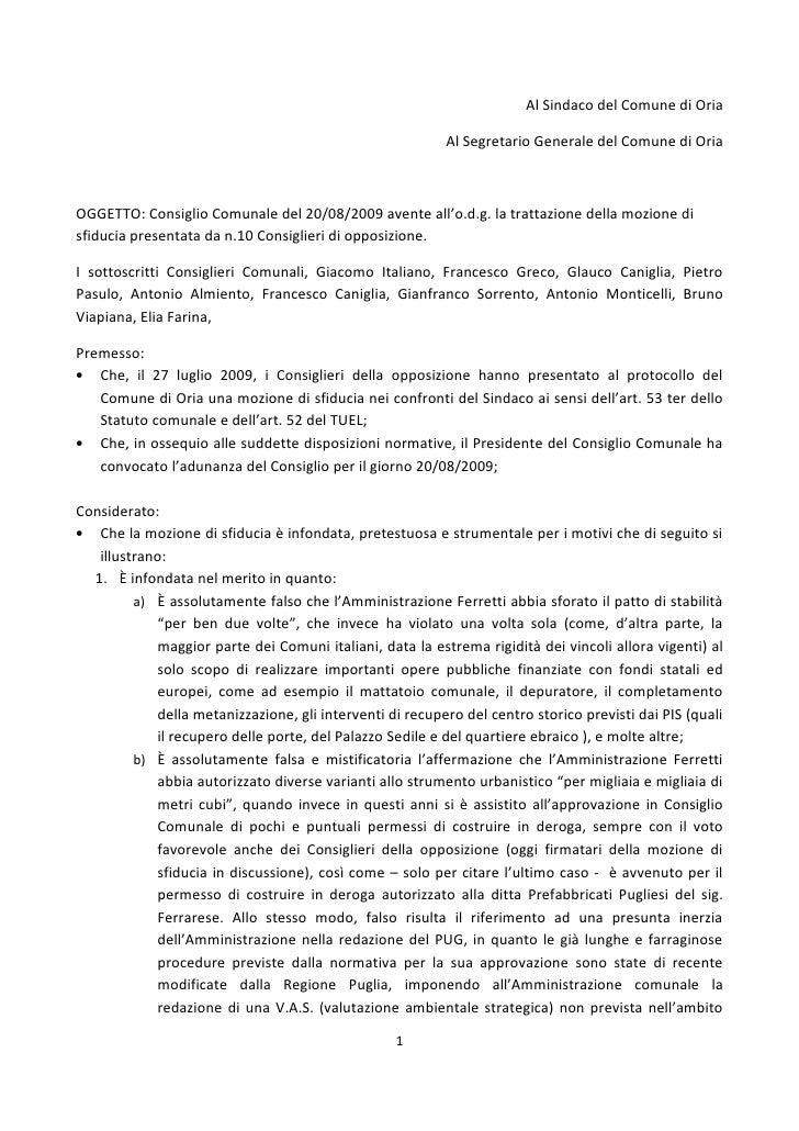 Al Sindaco del Comune di Oria                                                            Al Segretario Generale del Comune...