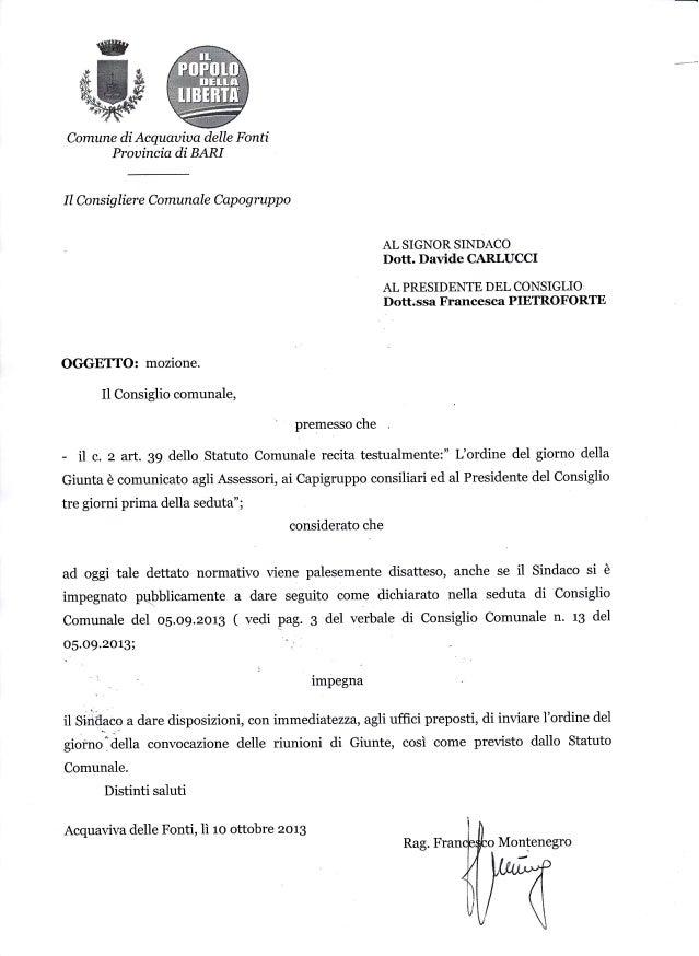 Comune diAcquauiua delle Fonti  Prouincia di BARI  Il Consig lier e Comunale  Cap  og  rupp o  AL SIGNOR SINDACO  Dott. Da...