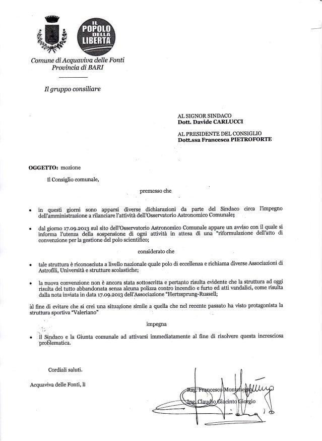 ry  w  Comune di Acquauia a delte Fonti Prouincia di BAR{  Il  gruppo consrliare  AI, SI§NOR §IN§ACO  Dott. Davide CARLUCC...