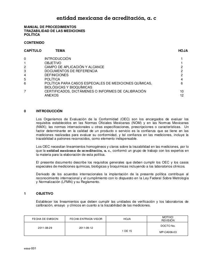 entidad mexicana de acreditación, a. cMANUAL DE PROCEDIMIENTOSTRAZABILIDAD DE LAS MEDICIONESPOLÍTICACONTENIDOCAPÍTULO     ...