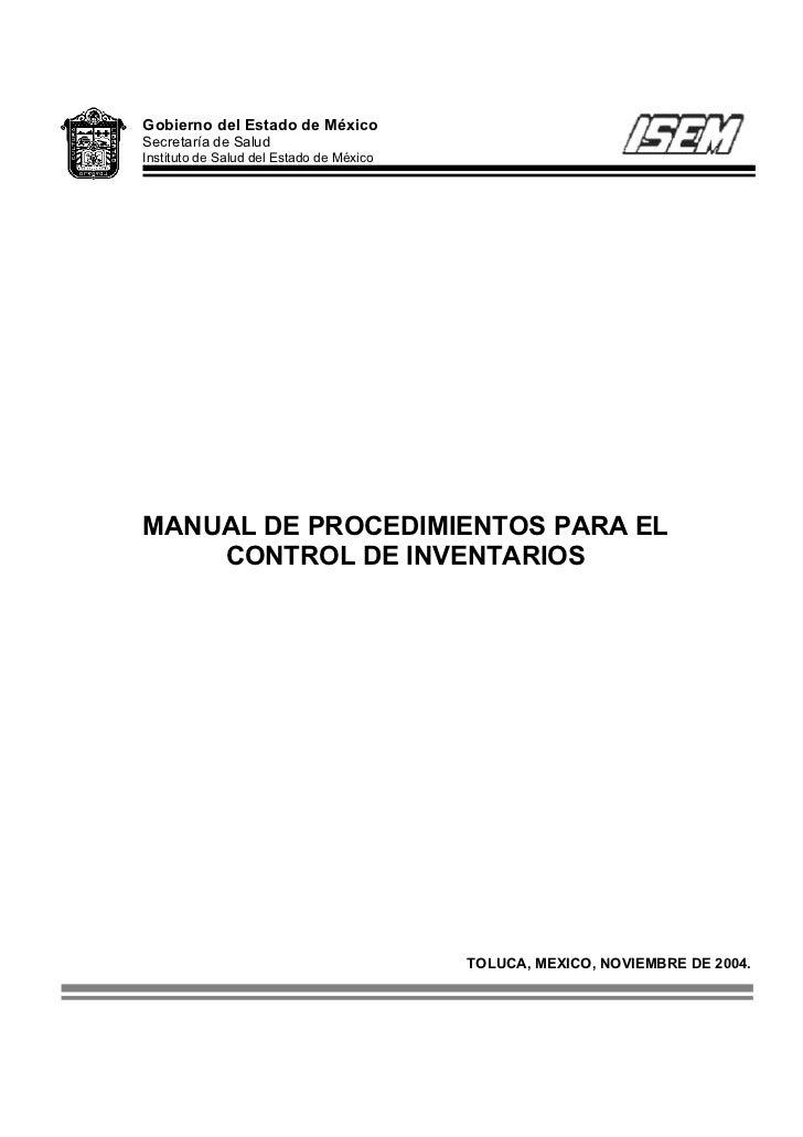 Gobierno del Estado de MéxicoSecretaría de SaludInstituto de Salud del Estado de MéxicoMANUAL DE PROCEDIMIENTOS PARA EL   ...