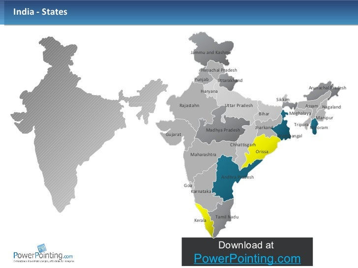 PowerPoint map of India including States - oukas.info