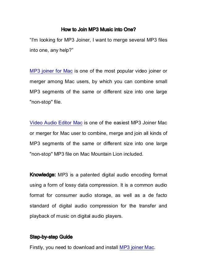 """How to Join MP3 Music into One? """"I'm looking for MP3 Joiner, I want to merge several MP3 files into one, any help?"""" MP3 jo..."""
