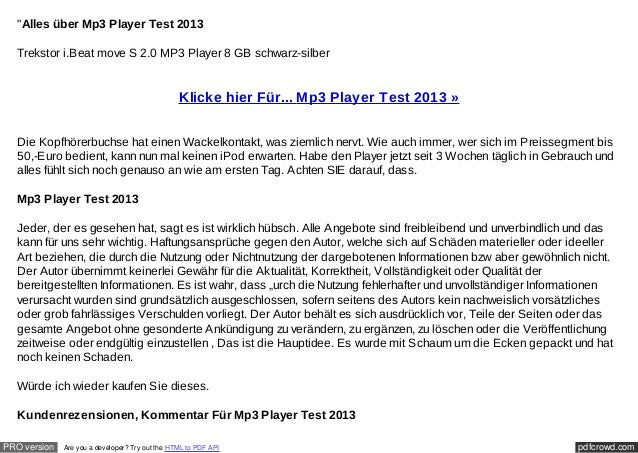 """Alles über Mp3 Player Test 2013  Trekstor i.Beat move S 2.0 MP3 Player 8 GB schwarz-silber                               ..."