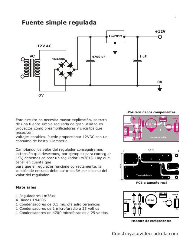 diagrama de conexión, y una fuente simple que sirve para alimentar el reproductor mp3 con entrada USB.