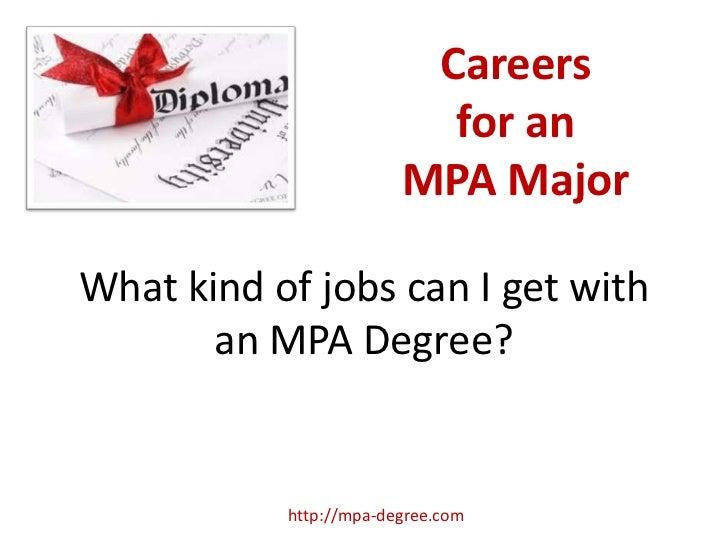 MPA Degree Careers
