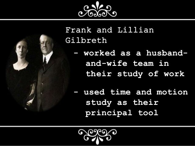 frank and lillian gilbreth's contribution to Therbligs: the keys to simplifying work david ferguson, csp frank and lillian gilbreth invented and refined this system, roughly between 1908 and 1924 the gilbreths begin to talk about 15 to 16.