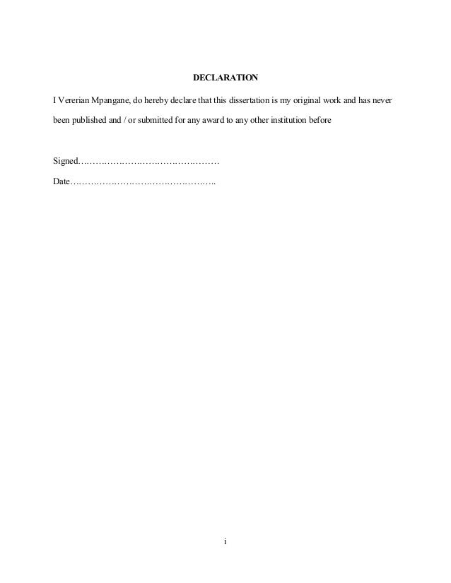 Construction Management dissertation declaration sample