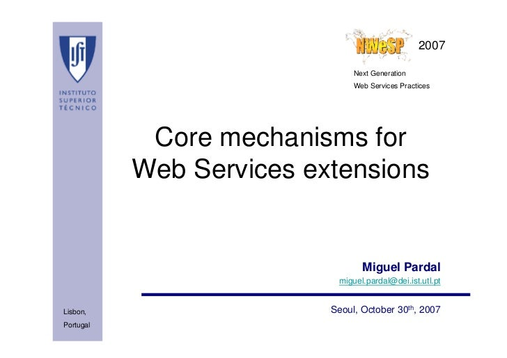 Core mechanisms for Web Services extensions