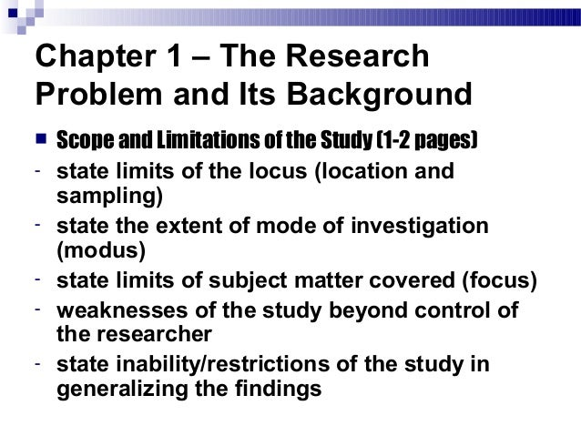 scope and limitation in research paper Scope describes the areas covered in a research whereas limitations are the circumstances that were not considered in the research.