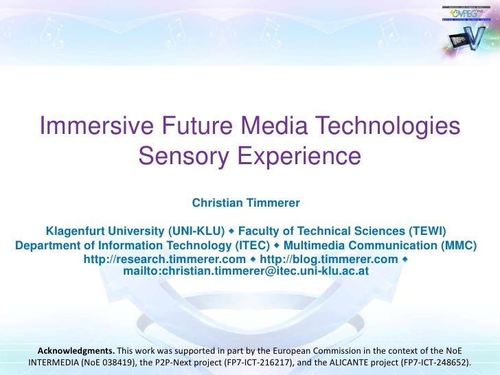 MPEG-V Part 3 enabling Sensory Experience