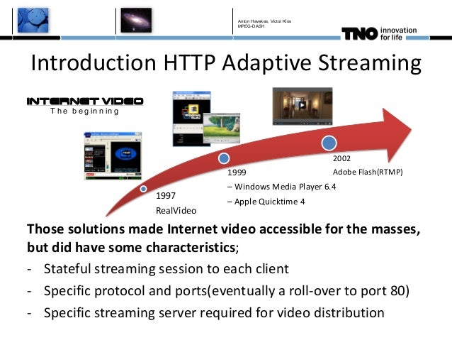 Introduction HTTP Adaptive Streaming 1997 RealVideo 1999 – Windows Media Player 6.4 – Apple Quicktime 4 2002 Adobe Flash(R...