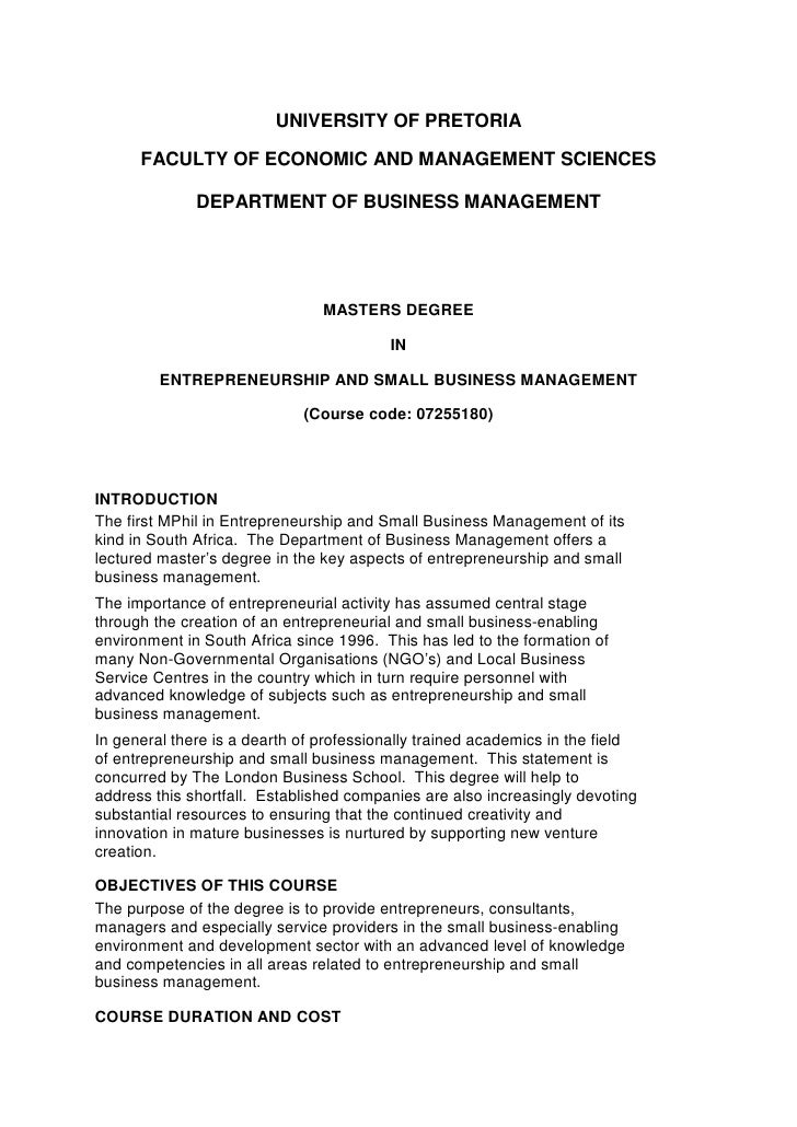UNIVERSITY OF PRETORIA        FACULTY OF ECONOMIC AND MANAGEMENT SCIENCES                DEPARTMENT OF BUSINESS MANAGEMENT...