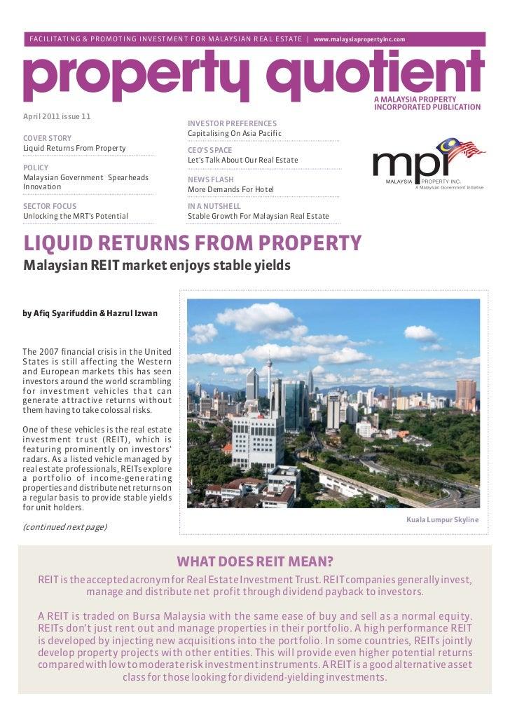 MPI Market Report – April 2011