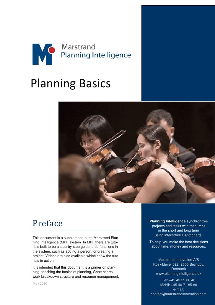 Planning Basics     Preface                                                     Planning Intelligence synchronizes        ...