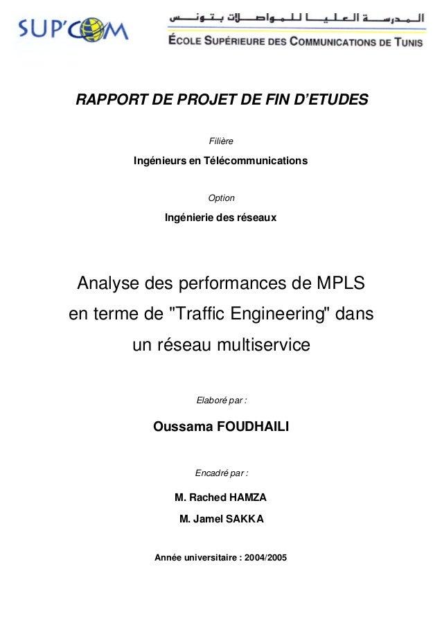 RAPPORT DE PROJET DE FIN D'ETUDES                       Filière        Ingénieurs en Télécommunications                   ...
