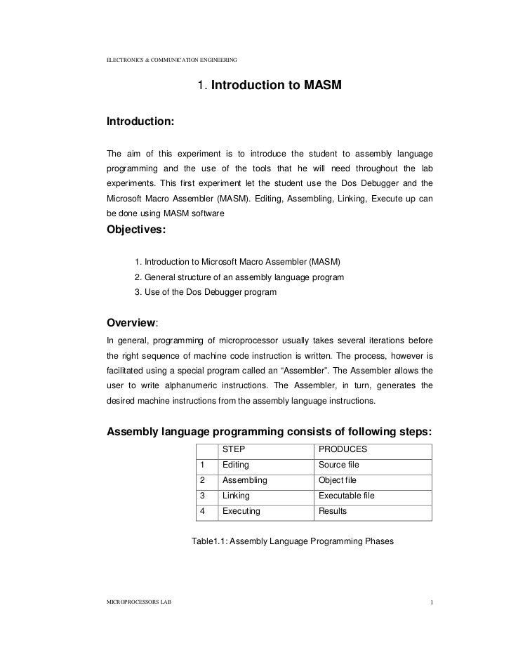 ELECTRONICS & COMMUNICATION ENGINEERING                           1. Introduction to MASMIntroduction:The aim of this expe...