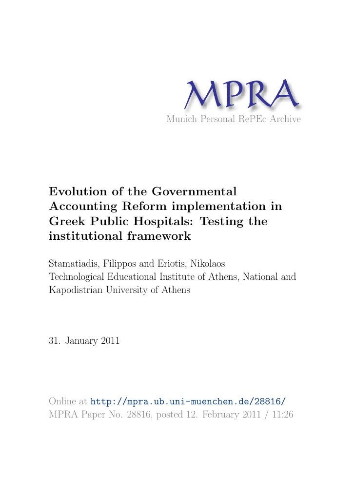 Evolution of the Governmental Accounting Reform implementation in Greek Public Hospitals: Testing the institutional framework