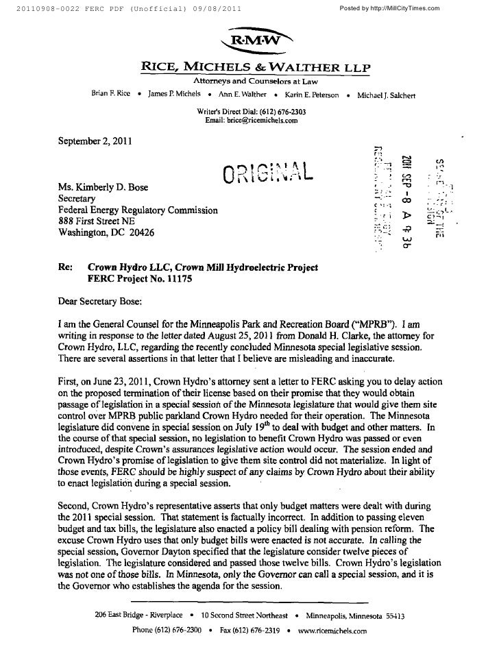 MPRB Letter to FERC in Response to Crown Hydo 09-02-2011