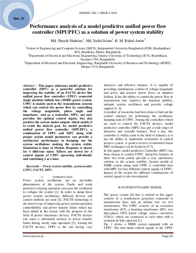 Performance analysis of a model predictive unified power flow controller (MPUPFC) as a solution of power system stability
