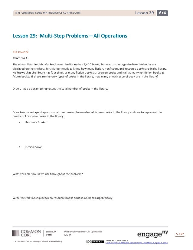 Lesson 29: Multi-Step Problems―All Operations Date: 5/8/14 S.127 127 © 2013 Common Core, Inc. Some rights reserved. common...