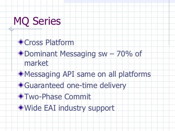 MQ Series <ul><li>Cross Platform </li></ul><ul><li>Dominant Messaging sw – 70% of market </li></ul><ul><li>Messaging API s...