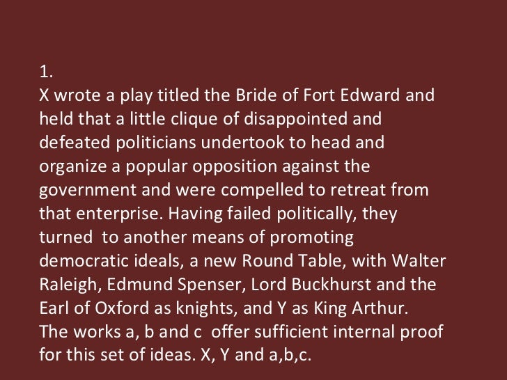 1. X wrote a play titled the Bride of Fort Edward and held that a little clique of disappointed and defeated politicians u...