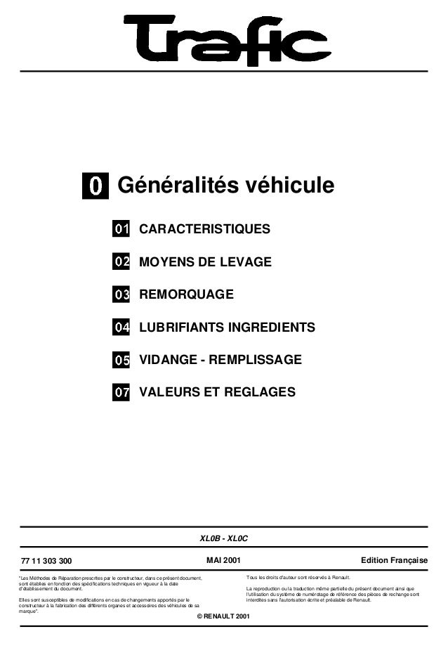 Généralités véhiculeCARACTERISTIQUESMOYENS DE LEVAGEREMORQUAGELUBRIFIANTS INGREDIENTSVIDANGE - REMPLISSAGEVALEURS ET REGLA...
