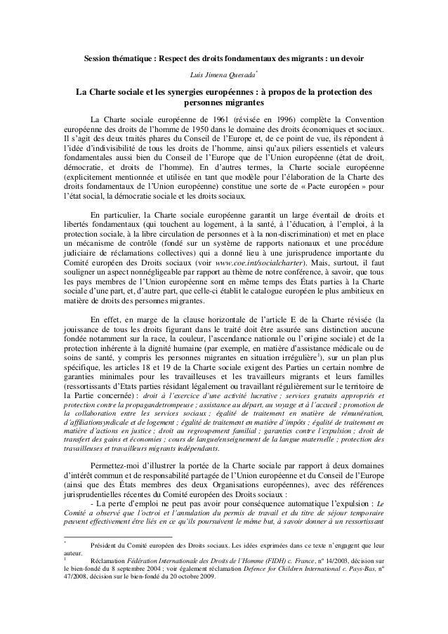 Session thématique : Respect des droits fondamentaux des migrants : un devoir                                             ...