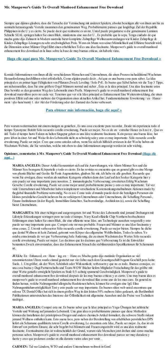 Mr. Manpowers Guide To Overall Manhood Enhancement Free DownloadSiempre que dijimos glauben, dass die Tatsache der Vermisc...