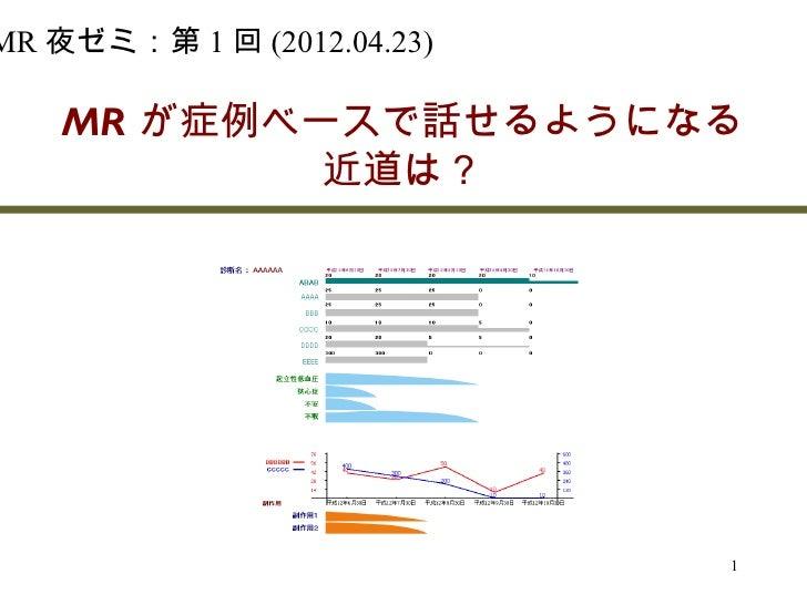 MR 夜ゼミ:第 1 回 (2012.04.23)      MR が症例ベースで話せるようになる            近道は?                              1