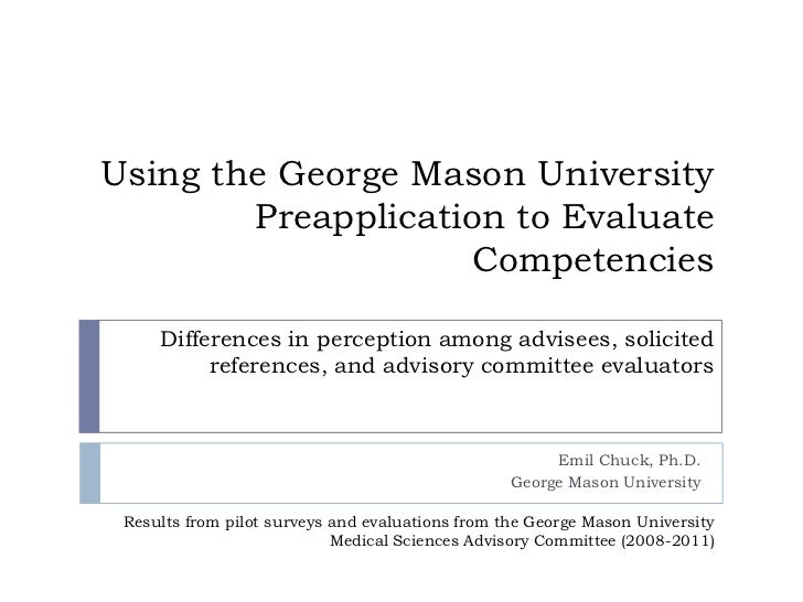 GMU Preapplication and Competencies (NEAAHP 2011)
