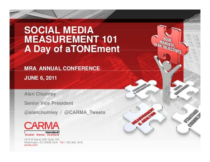 SOCIAL MEDIAMEASUREMENT 101A Day of aTONEmentMRA ANNUAL CONFERENCEJUNE 6, 2011Alan ChumleySenior Vice President@alanchumle...