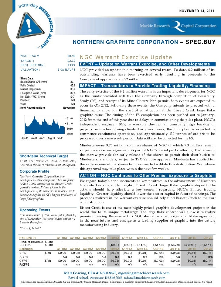 Northern Graphite Corporation - Research by Mackie Research Capital Corporation