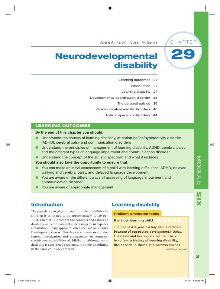 Valerie A. Harpin Susan M. Gentle             CHAPTER                             Neurodevelopmental                      ...