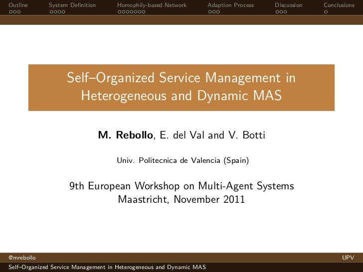 Self-Organized Service Management in Heterogeneous and Dynamic MAS