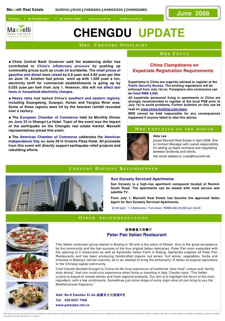 Newsletter Maxxelli Chengdu June 2008