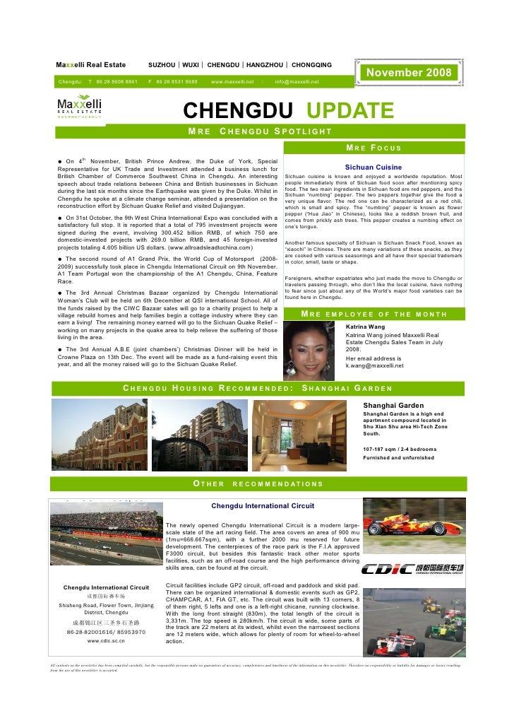 Newsletter Maxxelli Chengdu November 2008