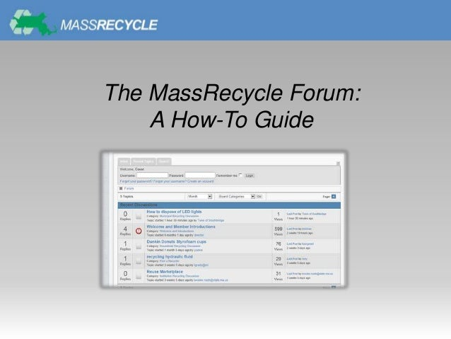 The MassRecycle Forum:A How-To Guide