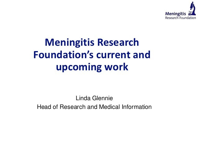 Meningitis Research Foundation' current and upcoming work by Linda Glennie
