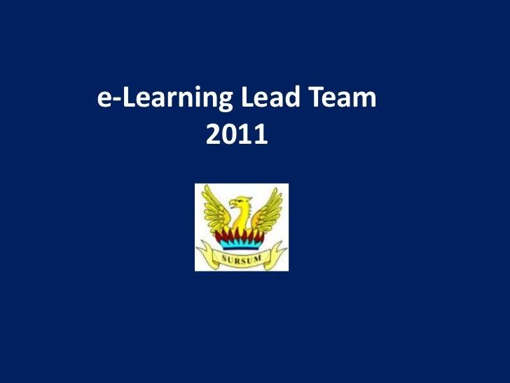 e-Learning Lead Team        2011