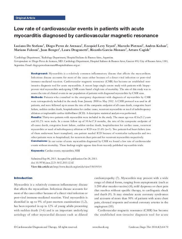 Low rate of cardiovascular events in patients with acute myocarditis diagnosed by cardiovascular magnetic resonance