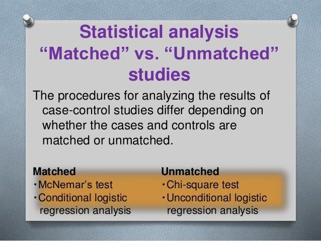 Matched case control study analysis