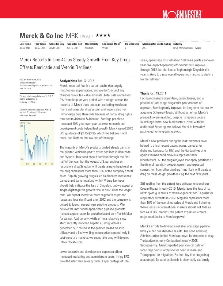 ?Merck & Co Inc MRK                                          [NYSE]         QQQQ                                          ...