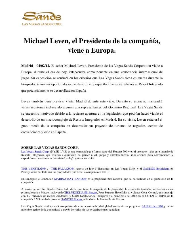 Mr  leven presidente de las vegas sands corporation viene a europa (2)