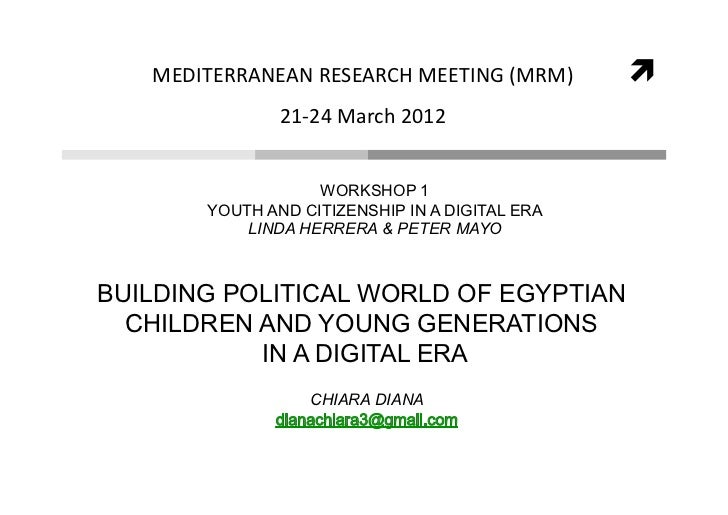 MEDITERRANEANRESEARCHMEETING(MRM)                       21‐24March2012                   WORKSHOP 1       YOUTH A...